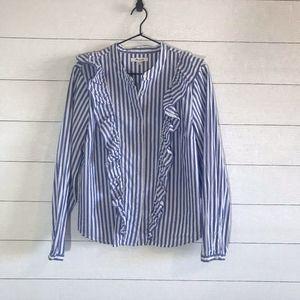 Madewell Whitney Stripe Ruffle Blouse Top